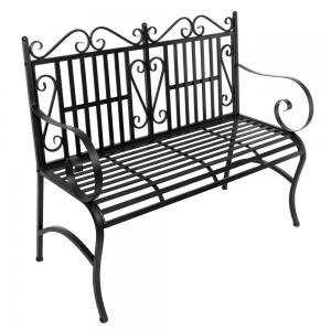 Iron Outdoor Chair, 2-Seater Foldable Outdoor Patio Garden Bench Porch Chair Seat with Steel Frame Solid Construction ()
