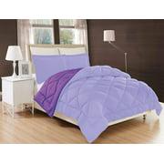 Down Alternative Elegant Comfort 3-Piece Reversible Comforter Set - -Twin, Lilac/Purple
