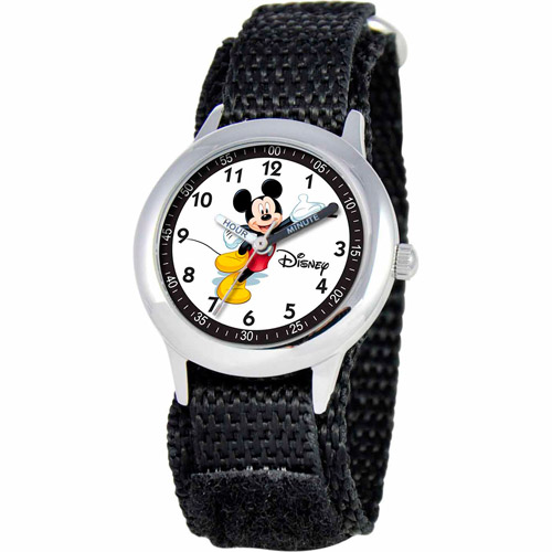 Disney Watches Kid's Mickey Mouse Time Teacher Hook and Loop Fastener Watch in Black
