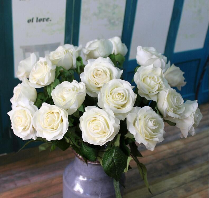 iMeshbean Artificial Colorful 20 Head Real Latex Touch Rose Flowers for Wedding Home Design & Bouquet Decoration (Blue)
