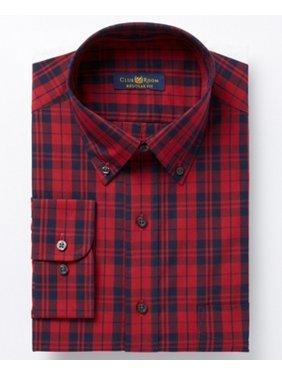 df7f88a9 Product Image Club Room Navy Mens Plaid Regular-Fit Dress Shirt