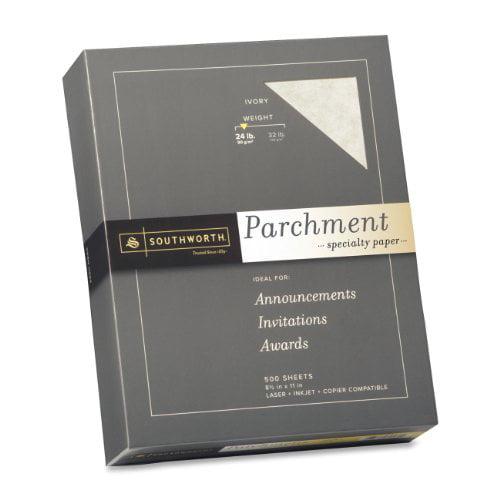 """Southworth Parchment Paper - For Laser Print - Letter - 8.50"""" X 11"""" - 24 Lb - Parchment - 500 / Box - Ivory (984C)"""