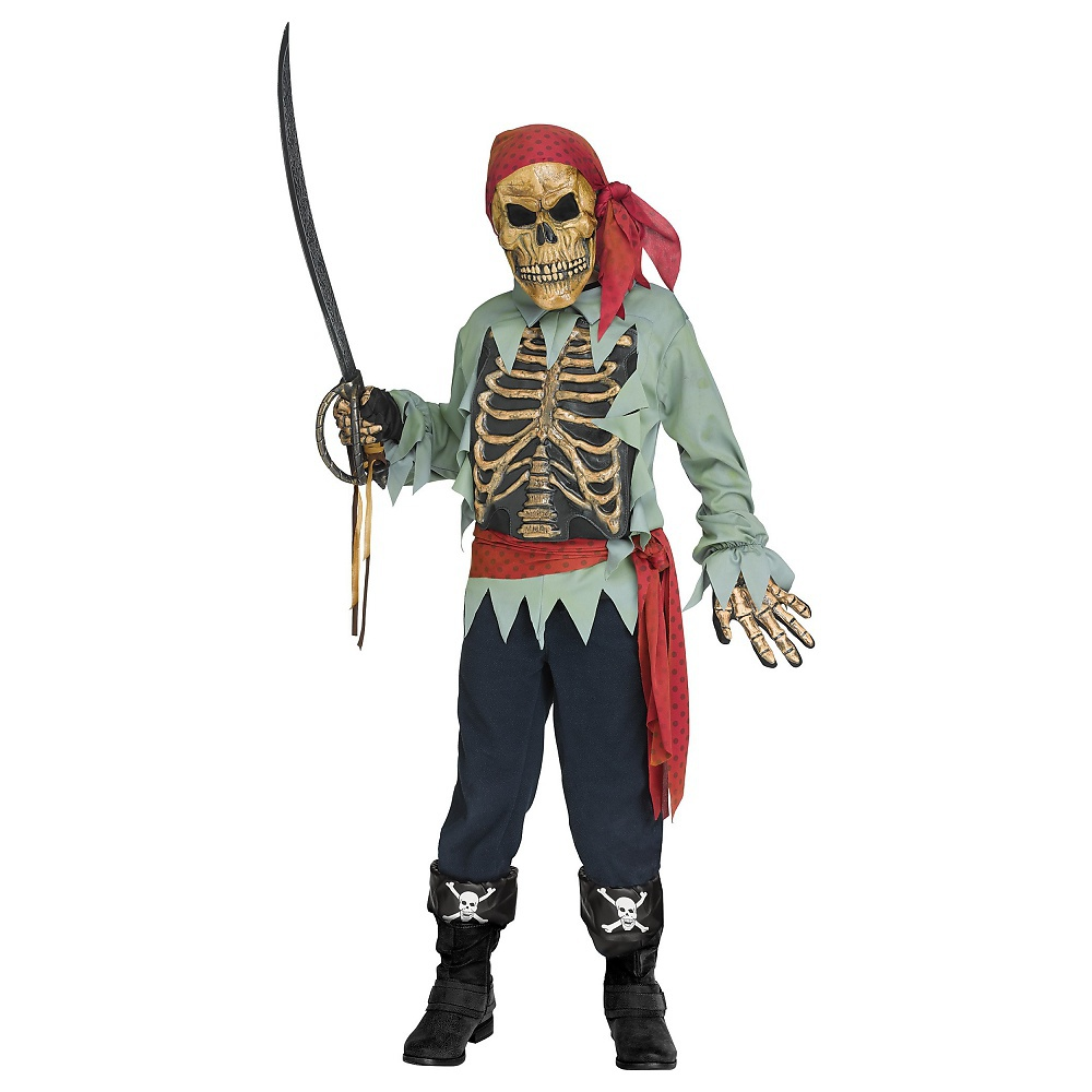 Skeleton Pirate Child Costume Medium by