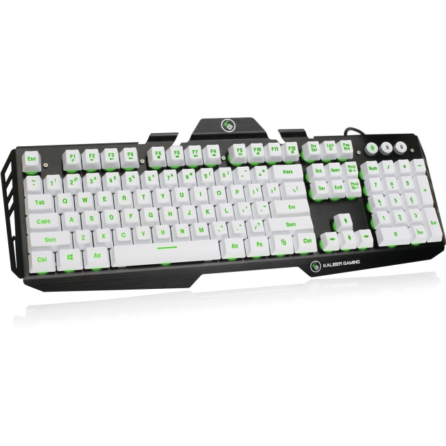 IOGEAR Kaliber Gaming HVER Aluminum Gaming Keyboard - Imperial White - Cable Connectivity - USB 2.0 Interface - 104 Key - English, French - Windows Lock Key Hot Key(s) - QWERTY Keys Layout - Plunger -
