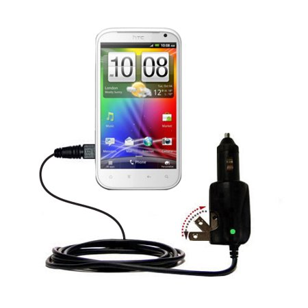 Intelligent Dual Purpose DC Vehicle and AC Home Wall Charger suitable for the HTC Bliss - Two critical functions, one unique charger - Uses Gomadic Br