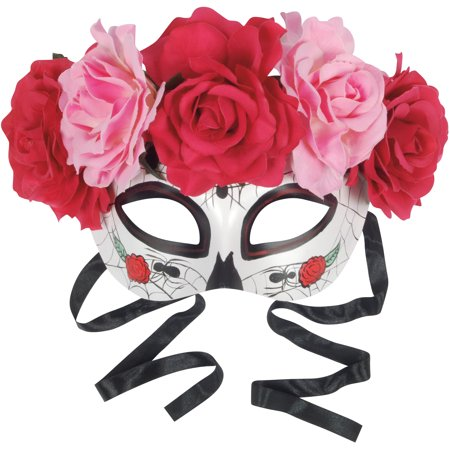 Star Power Day of the Dead Sugar Skull Half Mask w Roses, White Multi, One-Size - Day Of Dead Masks
