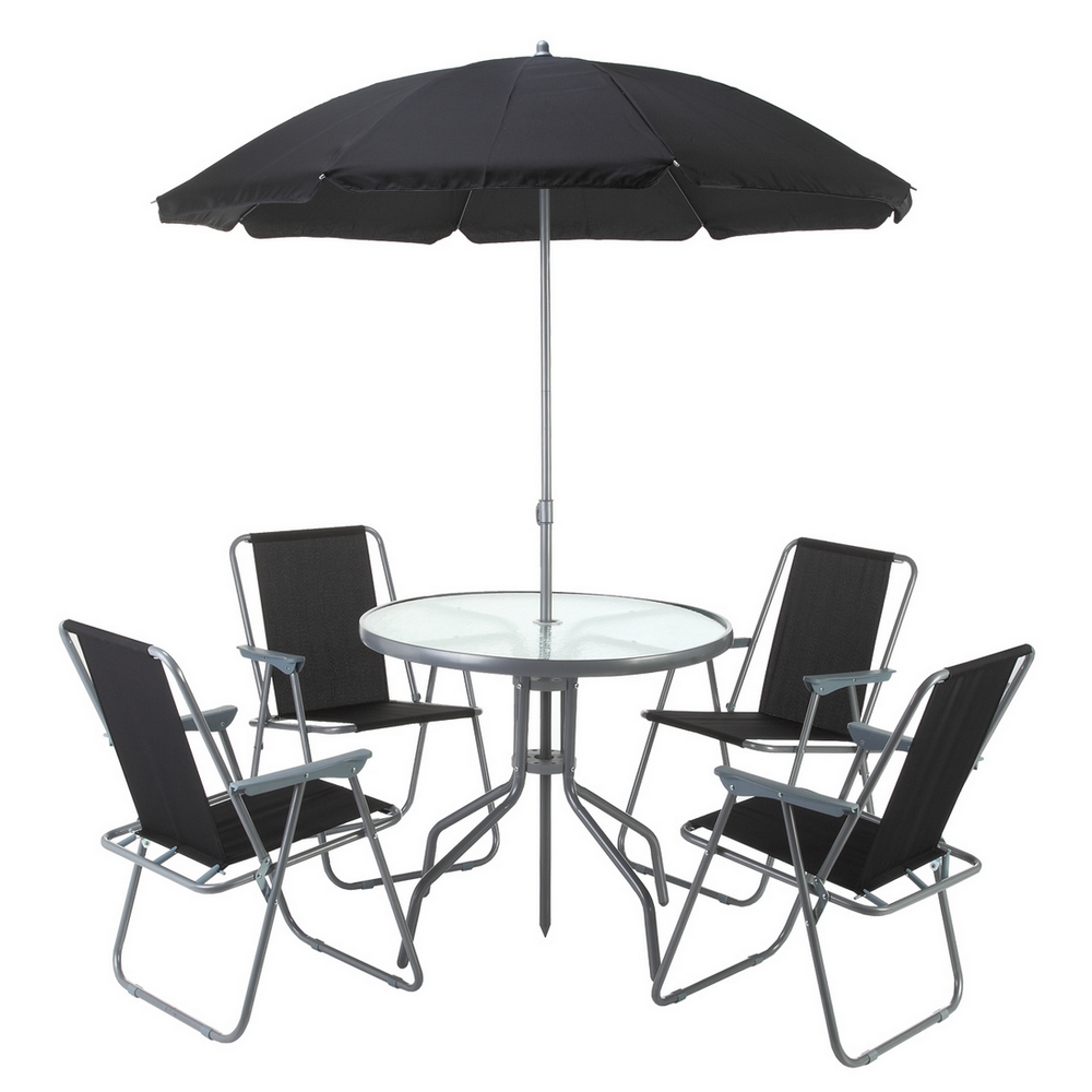 Palm Springs Outdoor Dining Set With Table, 4 Chairs And Umbrella/Parasol