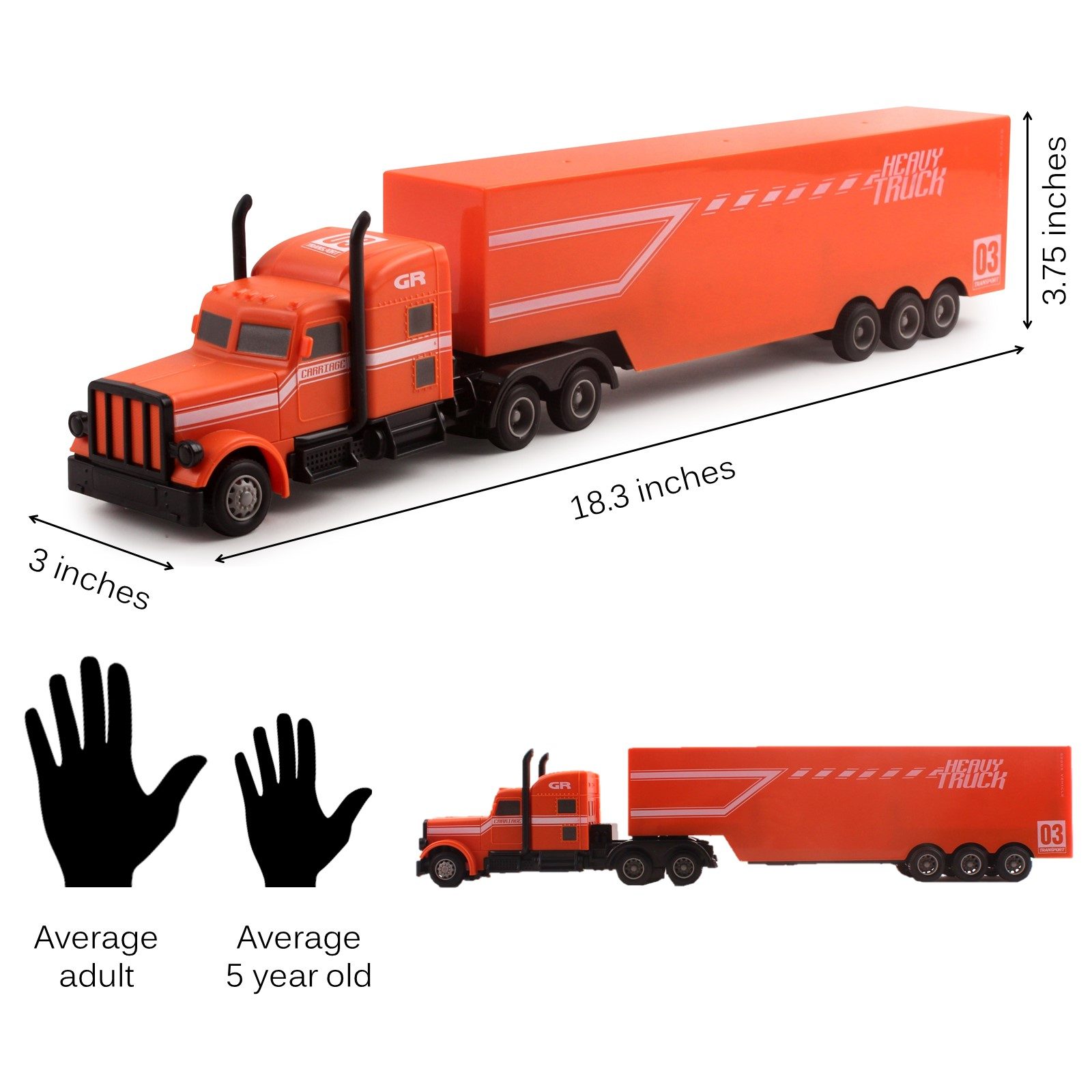 Vokodo Rc Semi Truck And Trailer 18 Inch 2 4ghz Fast Speed 1 16 Scale Electric Hauler Rechargeable Remote Control Kids Big Rig Toy Carrier Vehicle Cargo Transporter Great Gift For Children Boys Girls