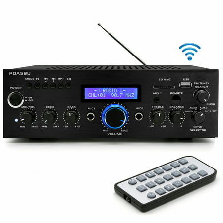 PYLE PDA5BU - Compact Bluetooth Stereo Amplifier - Home Desktop Stereo Receiver System with FM Radio, MP3/USB/SD/AUX (200 (Best Gemini Home Amplifiers)