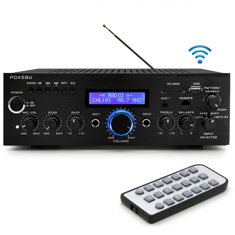 PYLE PDA5BU - Compact Bluetooth Stereo Amplifier - Home Desktop Stereo Receiver System with FM Radio, MP3/USB/SD/AUX (200 Watt)