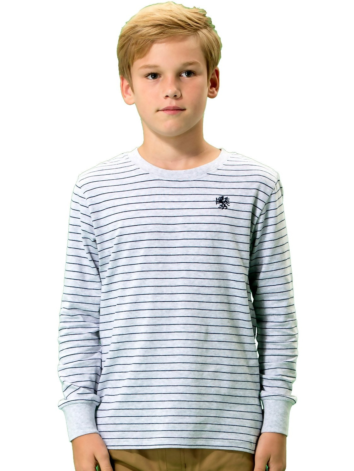 Leo&Lily Boys' Long Sleeve Reglan Crew-Neck Pullover T-Shirt