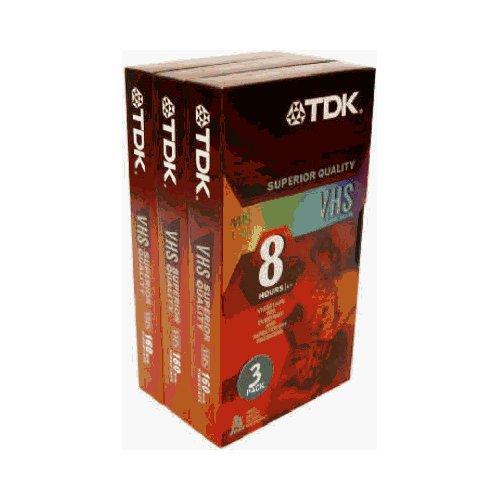 TDK 38240 Standard Grade VHS Videotape Cassette, 8 Hours, 3/Pack