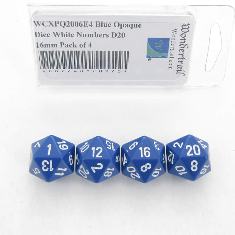 Blue Opaque Dice with White Numbers D20 Aprox 16mm (5/8in) Pack of 4 Wondertrail