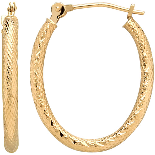 Simply Gold 14kt Yellow Gold Textured Oval Hoop Earrings