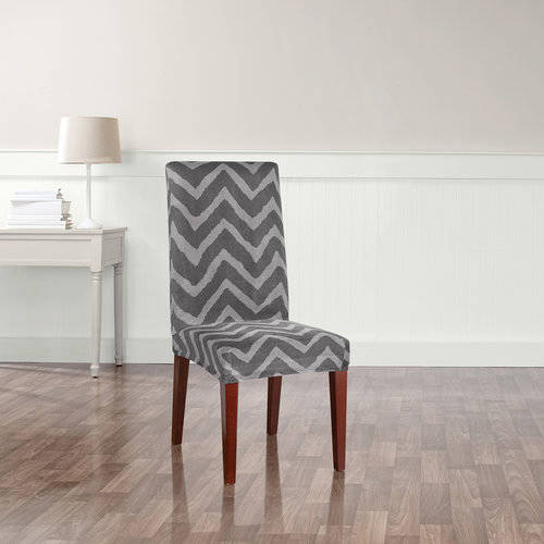 Sure Fit Stretch Plush Chevron Short Dining Room Chair Furniture Cover