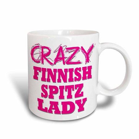 3dRose Crazy Finnish Spitz Lady, Ceramic Mug, 11-ounce