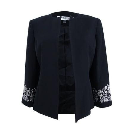 Kasper Women's Plus Size Embroidered Blazer (24W, Black/Silver) ()