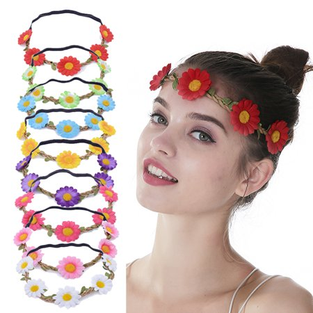 8PCS Womens Flower Crown Simulated Sunflower Floral Headpiece Hair ... 9fc79e3a608