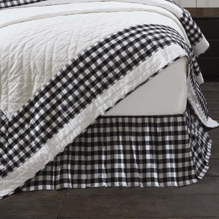 Antique White Black Farmhouse Bedding Jenna Buffalo Check Cotton Split Corners Gathered Buffalo Check King Bed Skirt