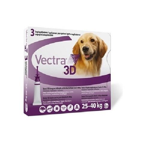 Vectra 3D Flea and Tick Prevention for Large Dogs 25-40kg, 3 Monthly Treatments