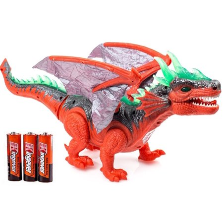 Toysery Walking Dinosaur Toy With Flashing And Sounds Dinosaur Toys For Kids  Battery Operated Triceratops Fiery Dragon