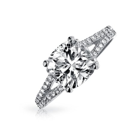 3CT Square Cushion Cut AAA CZ Engagement Ring For Women Cubic Zirconia Split Pave Shank Band 925 Sterling (Split Shank Engagement Ring And Wedding Band)