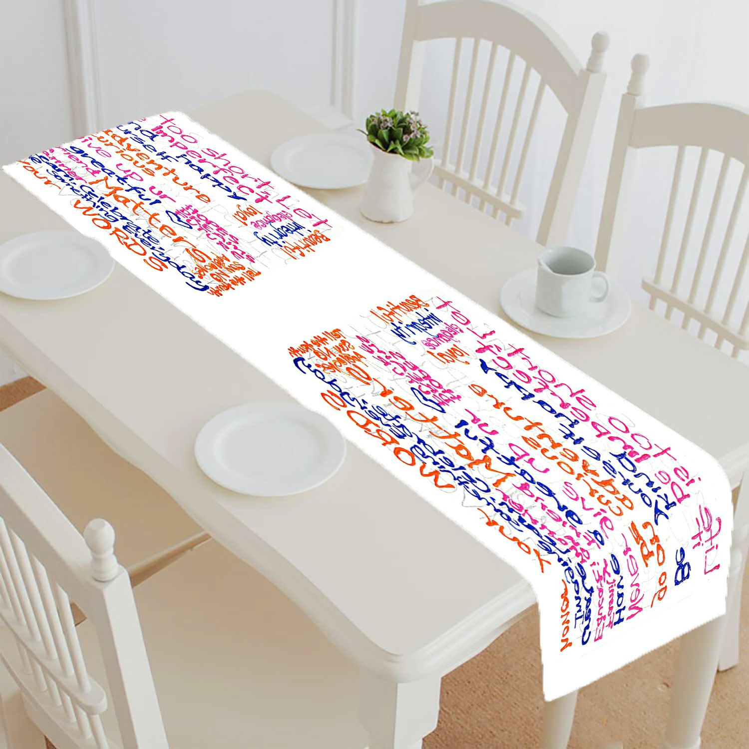 Abphqto Inspirational Quotes White Table Runner Placemat Tablecloth For Home Decor 16x72 Inch Walmart Com Walmart Com