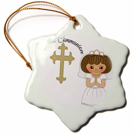 First Holy Communion Porcelain - 3dRose First Communion Cross With Little Girl Illustration, Snowflake Ornament, Porcelain, 3-inch