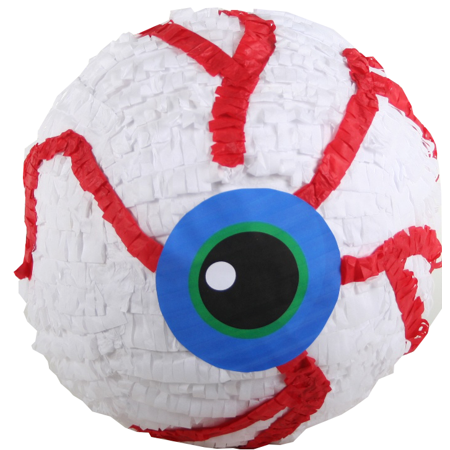 Eyeball Halloween Party Pinata White Red & Blue 12in
