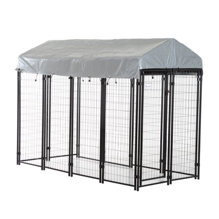 Pawhut 97quot x 46quot x 58quot 72quot outdoor covered dog box for Outside covered dog kennels