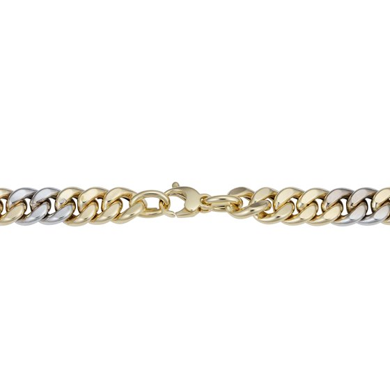600ac93102845 14k Yellow And White Gold Miami Cuban Curb Hollow Link Mens Bracelet, 8.5