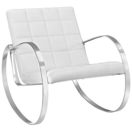 Modern Contemporary Urban Design Living Lounge Room Lounge Chair, White, Faux Leather