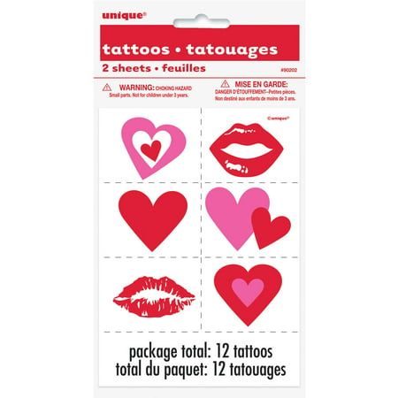 Hearts Valentine's Day Tattoos, Assorted 12pk