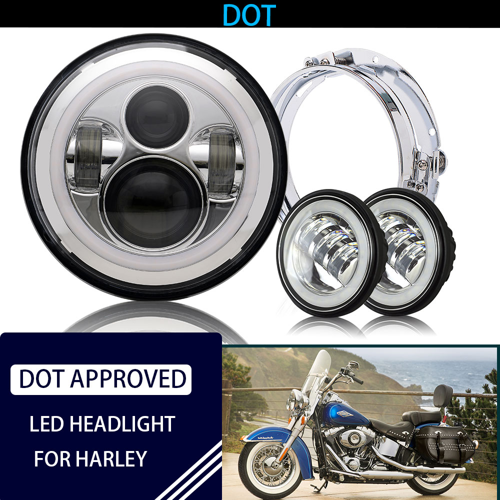Road Glide 4.5 Fog Light for Harley Davidson Road King Chrome Street Glide and Electra Glide Mounting Bracket Ring 7 LED Headlight Ultra Limited with 4-1//2 LED Passing Lamps