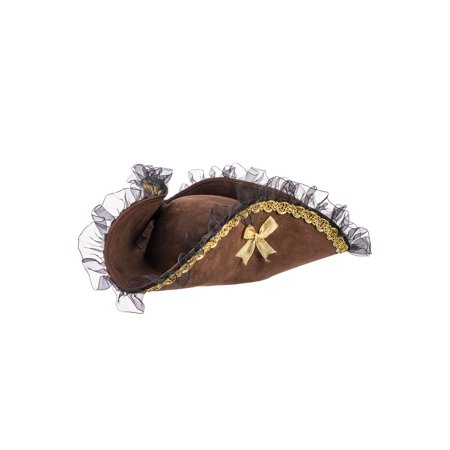 Tricorner Female Pirate Hat (Brown) - Pirates Hats