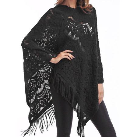 Hollow out Women Knit Batwing Top Tassel Poncho Cape Cardigan Coat Sweater Jacket Outwear