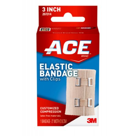 ACE Brand Elastic Bandage with Clips, 3 in., Beige, (Ace Athletic Bandage)