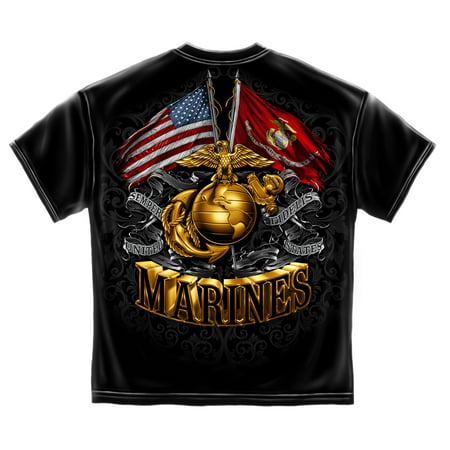 USMC Marine Corps Double Flag Gold Globe Marine Corps Foil Stamp T-Shirt SMALL