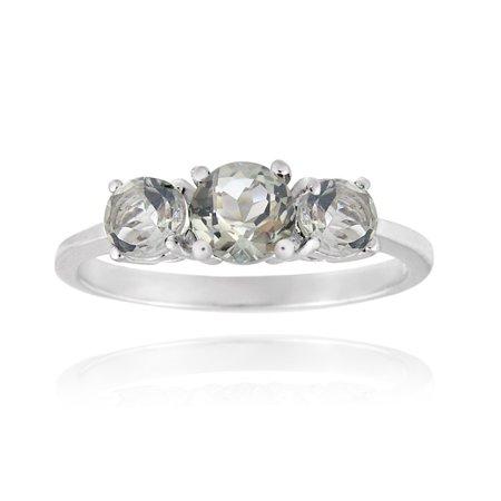 Light Amethyst Stones (Sterling Silver .9ct Green Amethyst Three Stone Ring)