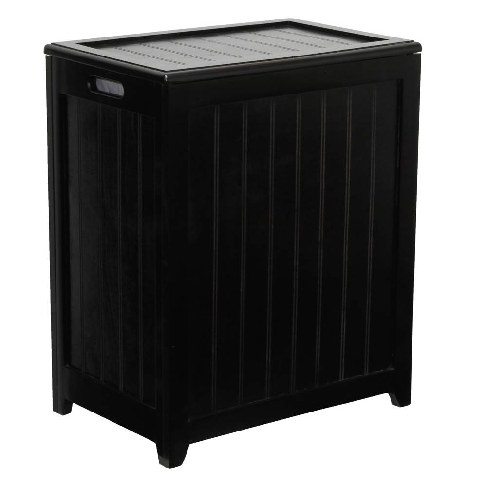 Oceanstar Mahogany Finished Rectangular Laundry Wood Hamper with Interior Bag RHP0109MH