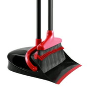 1pc Upgraded Broom and Dustpan Set Extendable Broomstick and Dust Pan Combo for Home (Grey and Red)