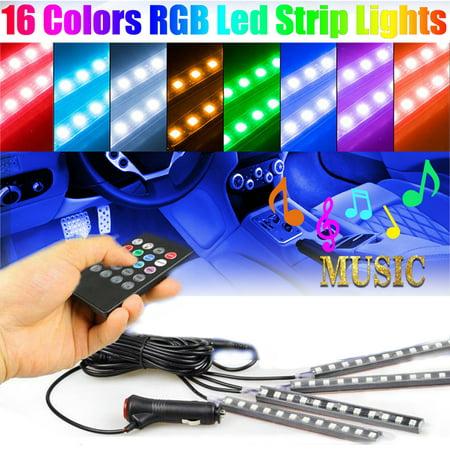 Car LED Strip Light, Multicolor Music Car Interior Atmosphere Lights with Remote Control,EEEkit 4pcs 48 RGB LEDs Strip Lights for Cars TV Home - Multi Color Led Cap