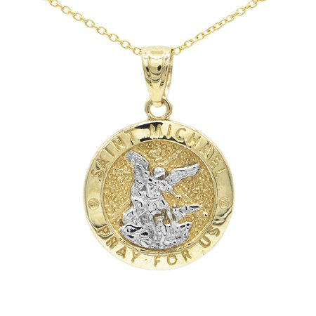 10k Yellow Gold Two Tone Dainty Round Saint Michael Medallion Necklace with 16
