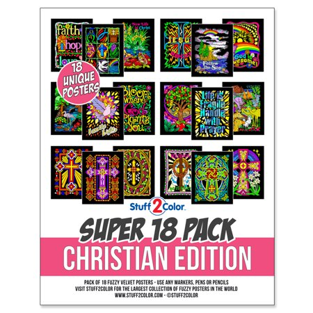 Super Pack of 18 Fuzzy Velvet Coloring Posters (Christian Edition) -  Stuff2Color