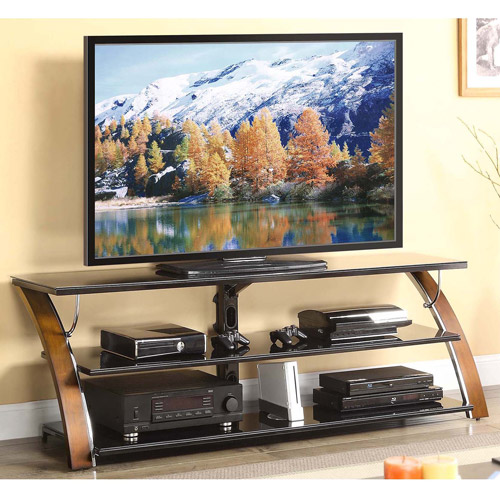 Whalen Brown Cherry 3-Shelf Tabletop Console for TVs up to 70""
