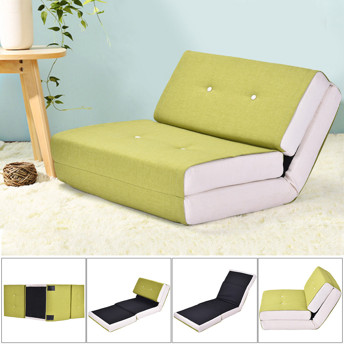 Costway Fold Down Chair Flip Out Lounger Convertible Sleeper Bed Couch Game Dorm Green