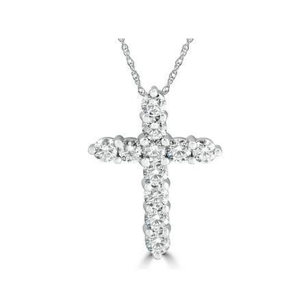 3Ct Diamond Cross Pendant 14K White Gold Women's Round Brilliant Cut 1