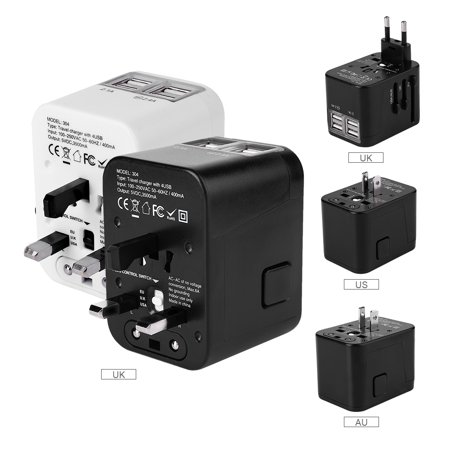 Travel Adapter with 4 USB Charger Worldwide Travel Power Wall Charger Built-in Spare Fuse Universal AC Wall Outlet Plugs All-in-One for EU,UK,US,AU,Italy and other 150 Countries