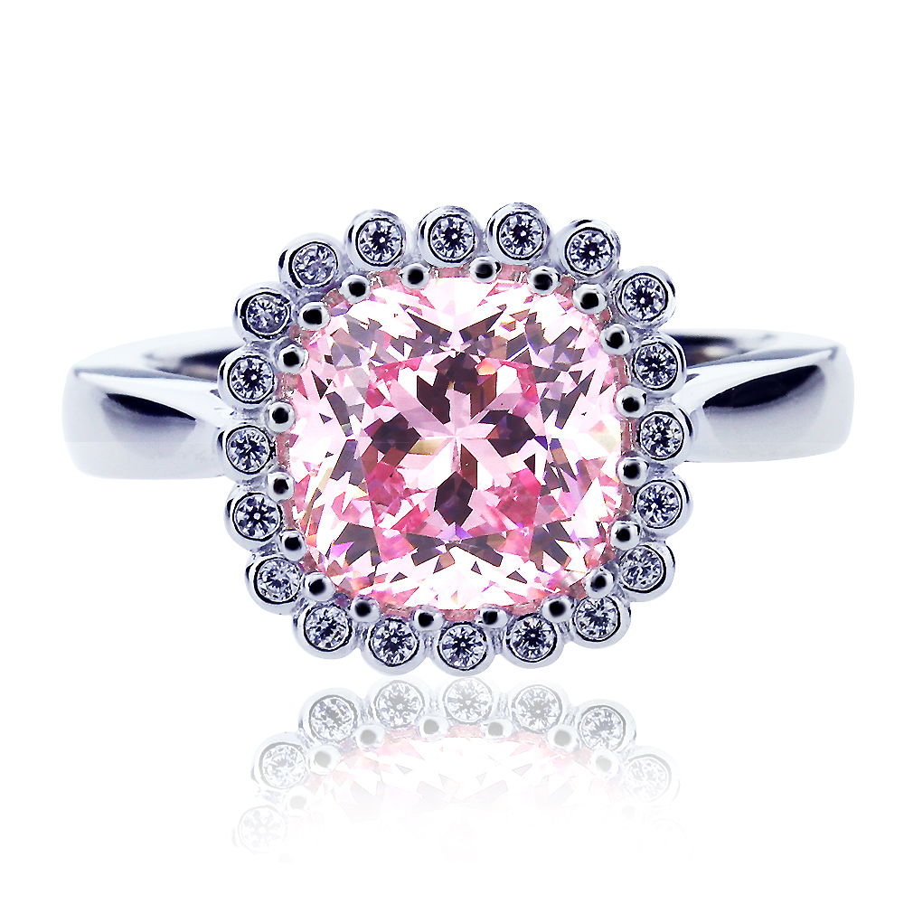 Men Women Platinum Plated Sterling Silver 2ct Cushion Super Light Pink Cubic Zirconia Ladies Cocktail Ring ( Size 5 to 9... by