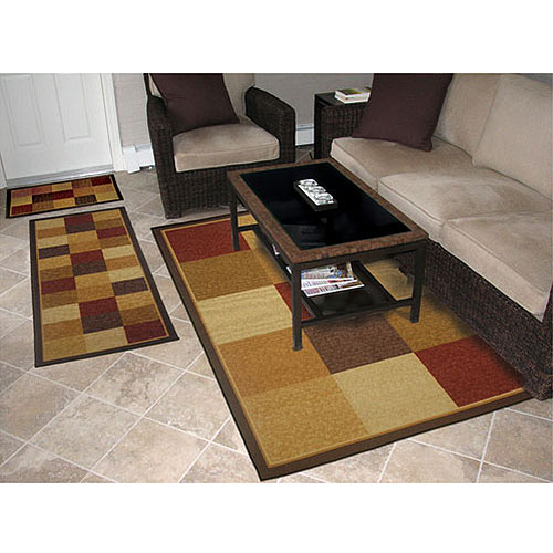 Fifteen Blocks Textured Red Rug, 3 Piece Set
